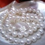8-9mm White pearl necklace flower button 18inch women fashion <b>jewelry</b> <b>making</b> design gfit wholesale