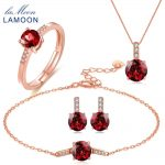 LAMOON Trendy 2ct Natural Red Garnet 925 Sterling <b>Silver</b> Jewelry Sets S925 <b>Earrings</b>+Rings+Bracelets+Necklaces for Women V014-1