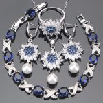 Wedding Costume Blue Zirconia <b>Jewelry</b> Sets Women Stone Bridal Pearl Silver 925 <b>Jewelry</b> Earring Bracelet Ring <b>Necklace</b> Set Box