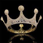 do dower New <b>Fashion</b> European Bride Wedding Gold Color Crown Full Rhinestones Large Queen Crown Wedding Hair <b>Jewelry</b> FN-GB057