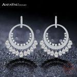 ANFASNI 925 <b>Sterling</b> <b>Silver</b> Luxury Long Falls Earrings Clear Zirconia Paved Fashion Earrings For Wedding Party <b>Jewelry</b> CGSER0134