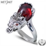 MetJakt Vintage Brave Troops Ring with Garnet Solid 925 Sterling Silver <b>Handmade</b> Ring for Women Vintage Thai Silver Fine <b>Jewelry</b>