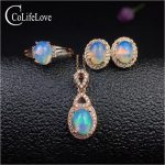 100% natural fire opal jewelry set for party 6 mm * 8 mm Australia opal ring pendant <b>earrings</b> set for woman <b>silver</b> opal jewelry