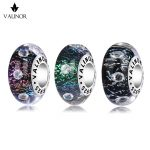 Video! Colorful flash inlay zircon murano glass beads charms 925 Sterling <b>Silver</b> fit <b>Bracelets</b> Jewelry JKLL006