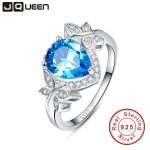 JQUEEN wedding engagement <b>jewelry</b> 925 sterling <b>silver</b> blue topaz ring butterfly decoration 3.85 Carat pear cut water drop shape