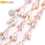 Gem-inside Natural White Pink Bird Foot Shape Stick Point Biwa Freshwater Cultured Pearls Beads for <b>Jewelry</b> <b>Making</b> 15inches DIY