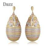 Dazz New Arrival Luxury Flower Basket Shape Large Drop Earrings Women Girls <b>Wedding</b> Copper <b>Jewelry</b> Three Tones Colors Bijuterias