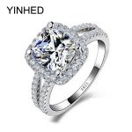 90% Off !!! YINHED 2 Bands Wedding Rings for Women 4 Carat CZ Diamant Engagement Ring 925 <b>Sterling</b> <b>Silver</b> <b>Jewelry</b> ZR119