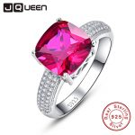 JQUEEN 4.75g Wedding Ring Female Solid Sterling <b>Silver</b> 925 <b>Jewelry</b> Rings Ruby Stone Red with White Cubic Zirconia Size 6 7 8 9