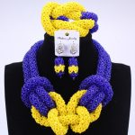 New Royal Blue Yellow <b>Handmade</b> Beads For Women <b>Jewelry</b> Set African Wedding Fashion <b>Jewelry</b> Statement Necklace Set Free Shipping