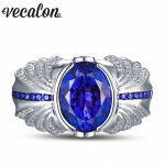 Vecalon Vintage Design Men fashion <b>Jewelry</b> <b>wedding</b> Band ring 5ct stone 5A Zircon cz 925 Sterling Silver Engagement Finger ring