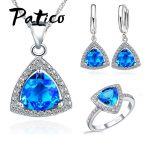 PATICO Shining Bridal <b>Jewelry</b> Sets AAA Cubic Zircon Stone 925 Sterling Silver Earrings Necklaces Rings Bijoux for Wedding Party