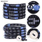 KELITCH Bracelets <b>Jewelry</b> Classic Synthetic Stone Seed bead Bracelets Charm Strand <b>Handmade</b> Black Leather Beaded Charm Bracelet