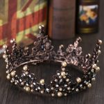 Baroque Vintage Brown Pearl Hair <b>Jewelry</b> Black Crystal Tiaras Crowns For Women <b>Wedding</b> Bridal Big Crown Queen Hair Accessories