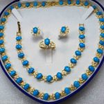Prett Lovely Women's Wedding charm Jew.656 Blue Link Bracelet/ Earrings /Ring / Necklace Set