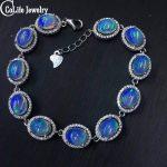 Classic natural opal <b>bracelet</b> 11pcs 13ct opal <b>silver</b> <b>bracelet</b> solid 925 <b>silver</b> gemstone <b>bracelet</b> Luxurious gem <b>bracelet</b> for girl