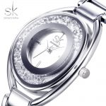 SK <b>Silver</b> Diamond Women Watches Luxury High Quality Water Resistant Montre Femme Stainless Steel 2017 Dress Woman Wrist Watch
