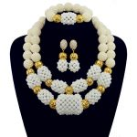 2017 New Arrival White Nigerian Plated Gold <b>Jewelry</b> Sets Crystal Beads <b>Necklace</b> Set Nigerian African Wedding Beads <b>Jewelry</b> Sets