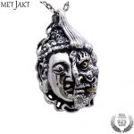 MetJakt Buddha and Devil Pendant Solid 925 Sterling <b>Silver</b> Pendant for <b>Necklace</b> Vintage Punk Rock Thai <b>Silver</b> Jewelry