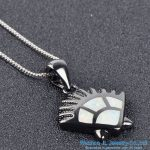 925 sterling silver chain with hedgehog pendant <b>make</b> with synthtic blue/white opal fashion <b>jewelry</b>