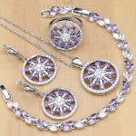Natural 925 <b>Silver</b> Jewelry Purple Stone White Crystal Jewelry Sets For Women Earrings/Pendant/Rings/<b>Bracelet</b>/Necklace Set