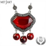 MetJakt Long Life Lock Garnet Pendant Insert Zircon 925 <b>Sterling</b> <b>Silver</b> Clavicular Chain Necklace Women Vintage Ethnic <b>Jewelry</b>