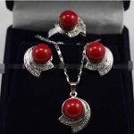 real Women's Wedding shipping> >>>>>Red South Sea Shell Pearl Earring Ring Pendant Set