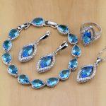 Rhombic Blue Crystal White Zircon 925 Sterling <b>Silver</b> Jewelry Sets Women Earrings/Pendant/Necklace/Ring/<b>Bracelet</b>