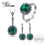 JewelryPalace Vintage 7.3ct Nano Russian Simulated Emerald Pendant Necklace Drop Earrings Ring <b>Jewelry</b> Sets 925 <b>Sterling</b> <b>Silver</b>