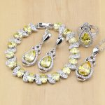 Silver 925 Bridal <b>Jewelry</b> Yellow Cubic Zirconia Beads <b>Jewelry</b> Sets For Women Earrings/Pendant/Ring/Bracelet/<b>Necklace</b> Set