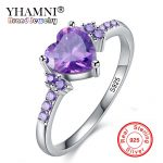 Lose Money 99% OFF! Real Solid 925 Silver Rings Fashion <b>Wedding</b> Zircon <b>Jewelry</b> Natural Heart Purple Crystal Rings for Women Gift