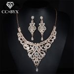 Rose gold color bridal <b>jewelry</b> sets cz austrian crystal necklace earring sets luxury <b>jewelry</b> femme D020