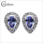 Classic <b>silver</b> tanzanite jewelry 4 mm*6 mm natural pear cut tanzanite stud <b>earrings</b> solid 925 sterling <b>silver</b> tanzanite <b>earrings</b>