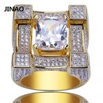 JINAO Men Rings Micro Paved Iced Out AAA Zircon 3D Suqare Gold Color Plated Rings for Male Women Bling Hip Hop <b>Jewelry</b>