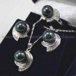 Prett Lovely Women's Wedding Black Shell Pearl Earrings Ring & Necklace Pendant Set>AAA GP Bridal wide watch wi