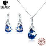 BISAER Genuine 925 Sterling <b>Silver</b> Blue Waterdrop Crystal Ocean Mermaid Mystery Tale Jewelry Set For Women Wedding Gift HPS063