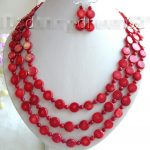 Prett Lovely Women's Wedding shipping>>Genuine 24″ 3strands 12mm red coral beads necklace a set b649 silver-<b>jewelry</b>