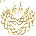 U7 New Gold Color Crystal Earrings Bracelet <b>Necklace</b> Set For Women Wedding & Engagement Bridal <b>Jewelry</b> Sets S808