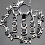 925 Sterling <b>Silver</b> Cubic Zirconia Bridal Jewelry Sets Earrings For Women Luxury <b>Bracelets</b> Rings Pendant Necklace Set Gift Box