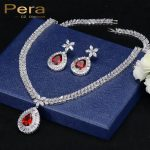 Pera Elegant Women India Red Cubic Zircon Stone Big Water Drop <b>Necklace</b> And Earrings Sets For Engagement Party Gift <b>Jewelry</b> J183