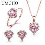 UMCHO 925 <b>Sterling</b> <b>Silver</b> <b>Jewelry</b> Set Romantic Heart Nano Morganite Rings Pendant Stud Earrings For Women Party Fine <b>Jewelry</b>