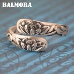 BALMORA Solid 990 Pure Silver Lotus Flower Rings for Women Gift Vintage Clover Engraving Silver Ring <b>Jewelry</b> <b>Accessories</b> SY21568