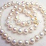 Discounts!6-7mm White pearl necklace fish shape buttons 18inch DIY handmade women fashion <b>jewelry</b> <b>making</b> design