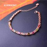 KJJEAXCMY boutique <b>jewelry</b>, 925 <b>sterling</b> <b>silver</b> inlay, pure natural candy, tourmaline, Gemstone Bracelet