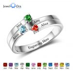 Family Ring Personalized <b>Jewelry</b> Engrave Name Custom Birthstone 925 Sterling Silver Ring Commemoration Gift (JewelOra RI102506)