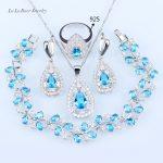 L&B Wedding Bridal Jewelry Sets Sky Blue Opal White Zircon <b>Silver</b> Color Leaf <b>Bracelets</b>/Pendant/Necklace Chain/Earrings/Rings