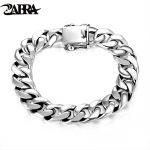 ZABRA Luxury 925 <b>Sterling</b> <b>Silver</b> Bracelets Man High Polish Curb Link Chain Bracelet for Men Vintage Punk Rock Biker Mens <b>Jewelry</b>