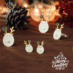 tLotus Fun Real 925 Sterling <b>Silver</b> Creative Handmade Fine Jewelry Christmas Joys Cute Reindeer Jewelry Set