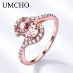 UMCHO Created Pink Morganite Real 925 Sterling <b>Silver</b> Rings Wedding Bands Charm Rings For Women Birthday Gift Fine <b>Jewelry</b>