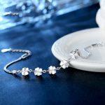 925 <b>sterling</b> <b>silver</b> bracelet Korean female lucky Clover shape flowers simple sweet girlfriend gift High quality women <b>jewelry</b>